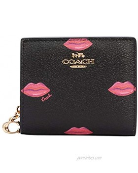 Coach Snap Wallet With Lips Print IM Black Multi C3324
