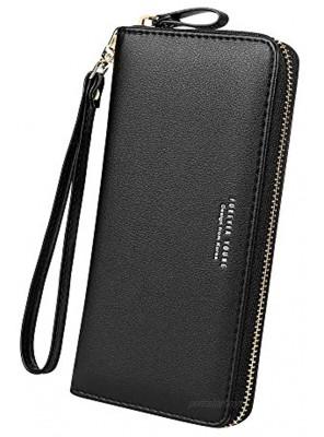 Cynure Women's Large Leather Card Organizer Zipper long wristlet Checkbook Clutch Wallet Black