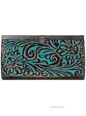 Patricia Nash Cauchy Metallic Embossed Leather Wallet Turquoise