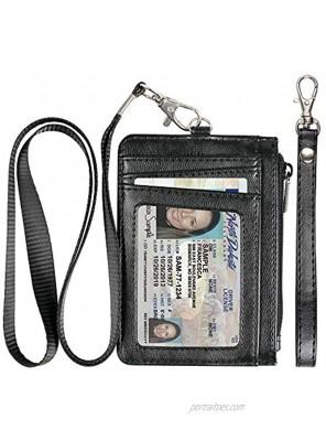 Teskyer Minimalist Wallet Slim Wallet with Neck Lanyard and Wrist Strap Credit Card Holder Wallet RFID Blocking Front Pocket Wallet for Men Women Black