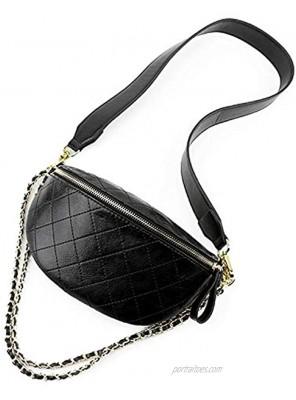 Fanny Packs Crossbody Shoulder Bag Dboar Women's Chest Bag Vegan Leather Shoulder Purse Fashion with Gold Chain Strap