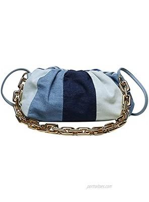 GRACE KARIN Women Denim Shoulder Bag with Chain Color Block Fashion Handbags
