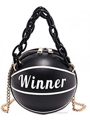 Kuang Women's Basketball Shaped Mini Chain Purse Shoulder Messenger Handbags Handle Tote Cross Body bags For Girls