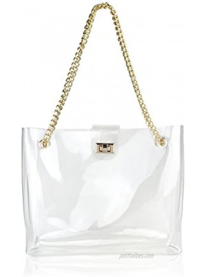 Multifunction Clear Chain Tote with Turn Lock Womens Shoulder Handbag