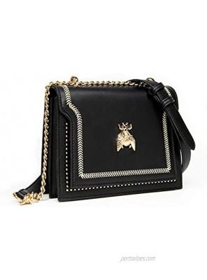 Small Crossbody Bag for Women Clutch Handbag Shoulder Bag with Metal Chain Strap