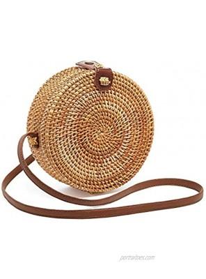 zixijiaju Round Rattan Bags Women Round Handwoven Straw Bag Leather Crossbody Shoulder Strap Handbag Summer Beach Bag Bamboo Type-1
