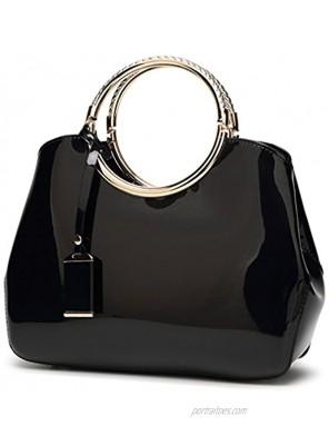 Hoxis Charm Glossy Metal Grip Structured Shoulder Handbag Women Satchel
