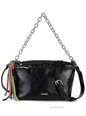 Medium Crossbody Bags for Women Zip Pockets Shoulder Handbags,Cross Body Purses with Tassel and Adjustable Strap,Pu Leather