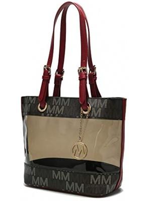 MKF Shoulder Bag for Women: PU Leather Top Handle Tote Handbag – Lady Fashion Satchel Pocketbook Signature Purse