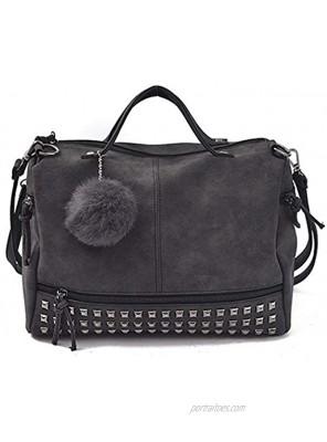 Pahajim Womens Studded Tote Handbags Top Punk Casual Shoulder Bags Hobo Rocker Satchel Purse
