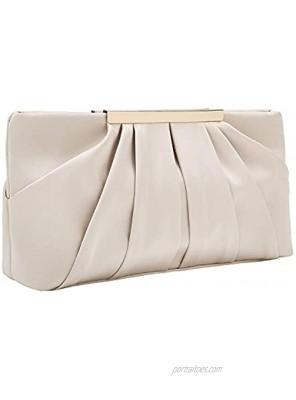 Charming Tailor Clutch Evening Bag Elegant Pleated Satin Formal Handbag Simple Classy Purse for Women