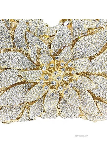 Elegant Flower Clutch Evening Bags for Women Wedding Party Crystal Purse and Handbags