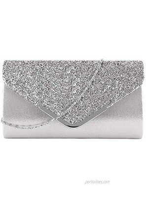 Queena Womens Shiny Sequins Evening Clutch Envelope Handbag Chain Purse for Wedding Party Prom Gift for Mom Wife Girlfriend