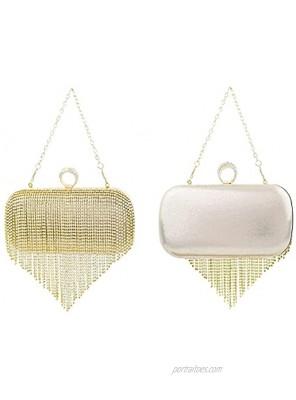 TOPFIVE Rhinestone Tassels Evening Bags for Girls' Party Wedding Clutch Wristlets Handbag Purse Crossbody Shoulder Handbag