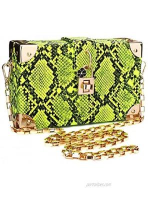 YYW Women Snakeskin Pattern Handbags Evening Clutch Purses Shoulder Bag Prom Banquet Wedding Box Bag Crossbody Bag