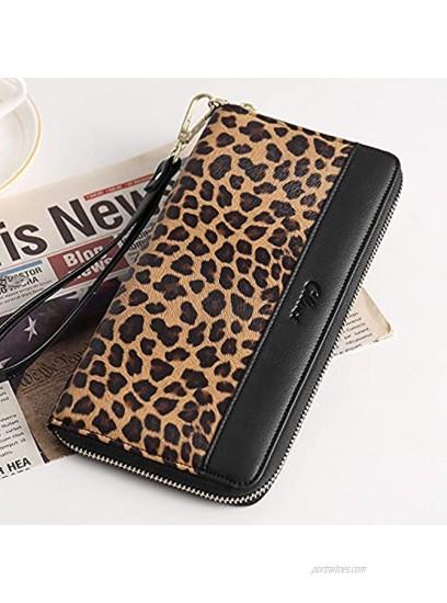 CLUCI Women Wallet Large Leather Designer Zip Around Card Holder Checkbook Organizer Purse Travel Clutch Wristlet