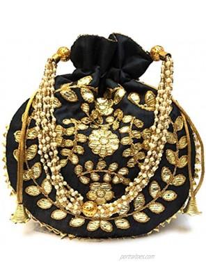 Potli Bag Jewelry Coin Pouch Potli Bag Gota Patti Work Potli Bag Batwa Pearls Handle Purse Clutch Purse for Women