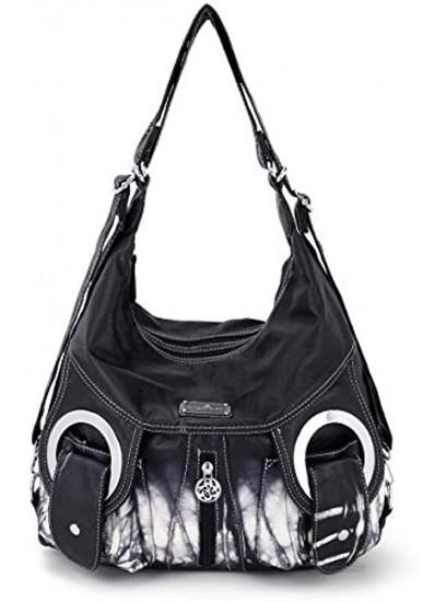 Angel Kiss Purse Women Hobo Handbag Fashion Roomy Crossbody Shoulder Bag Ladies Top Handle Handbag Washed PU Leather