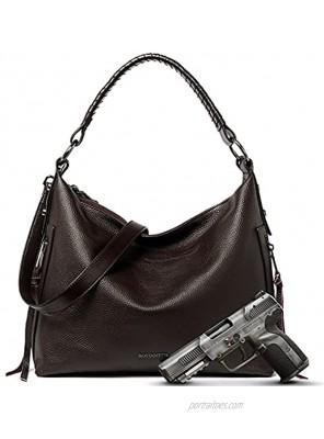 BOSTANTEN Leather Handbags for Women Concealed Carry Large Designer Hobo Bags Ladies Shoulder Crossbody Purse