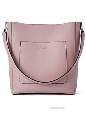 BROMEN Hobo Bags for Women Designer Handbags Vegan Leather Bucket Purse Shoulder Crossbody bag Pink