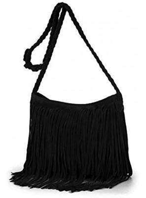 Heidi Hobo Hippie Fringe Tassel Faux Suede Shoulder Messenger Cross Body Womens Sling Bag