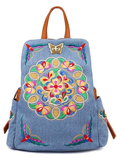 Denim Embroidered Floral Canvas Backpacks for Women Anti theft Retro Jeans Travel Ethnic Style Shoulder Bag