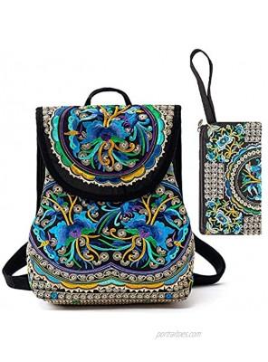 Embroidered Backpack Purse for Women Boho Purses Vintage Hippie Backpack Bag Canvas Shoulder Bag for Women Girls