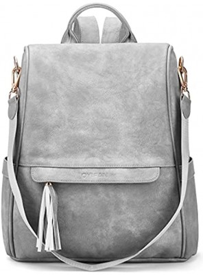 Oyifan Backpack Purse for Women Leather Large Fashion Travel Backpack Ladies Anti-theft Designer Shoulder bags with Tassel Grey