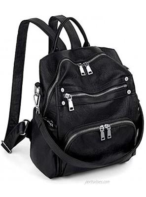 Women Backpack Purse Convertible PU Leather Ladies Rivet Studded Rucksack School Shoulder Bag UTO