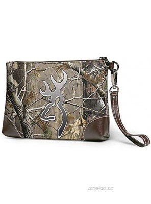 Camouflage Realtree Leather Wristlet Clutch Bag Zipper Handbags Purses For Women Phone Wallets With Strap Card Slots