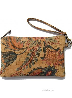 Cork Leather Wristlet Clutch with strap Cruelty Free Vegan Purse by Lindo Cork