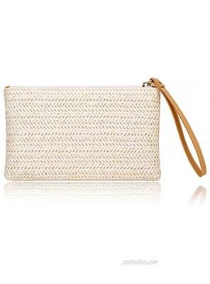 Womens Straw Clutch Bag Bohemian Summer Beach Straw Purse Zipper Wristlet Wallets for Women