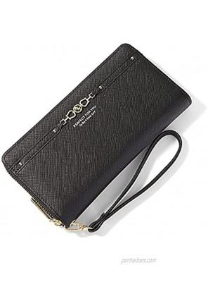 Wristlet Wallets for Women RFID Blocking PU Leather Zip Around Womens Clutch Wallet