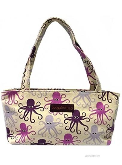 Bungalow360 Vegan Cotton Canvas Mini Bag Purple Octopus
