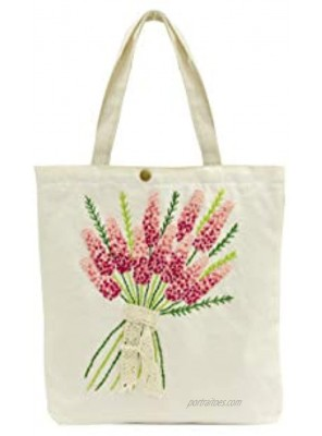 Canvas handbag UYEN-T006 UYEN-T006 33x4xH34cm with long handle Beige Color hand-embroidered with Lavender flower pattern