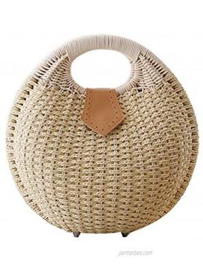FENICAL Rattan Handbag Fashionable Straw Shell Shape Storage Handbag for Female Woman Lady Beige