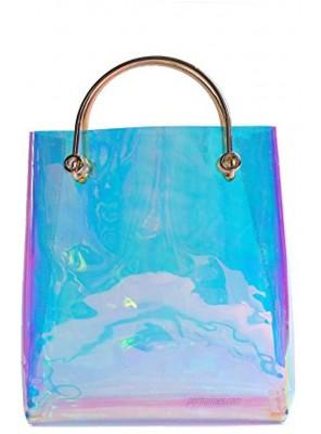 Mogor Large Hologram transparent Cable Shopper clear PVC Runway Tote IT bag