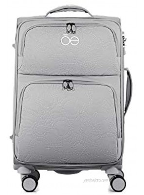 Cloe Carry-On 20 inch Embroidered Nylon Luggage in Gray Color