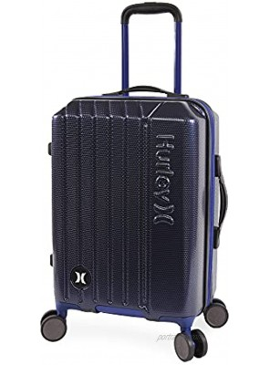 Hurley Swiper Hardside Spinner Luggage Navy Blue Carry-On 21-Inch