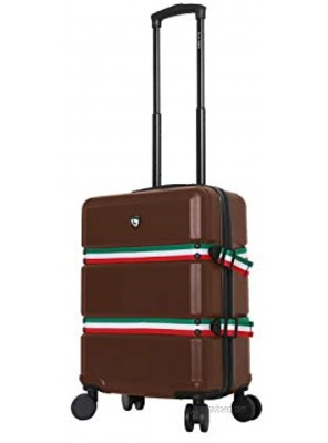 Mia Toro Italy Nastro Hard Side Spinner Carry-on Brown One Size