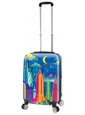 Mia Toro Mia Viaggi Italy Vintage Traveler Hardside Spinner Carry-on New York City One Size