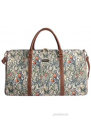 Signare Tapestry Large Duffle Bag Overnight Bags Weekend Bag for Women with Golden Lily DesignBHOLD-GLILY