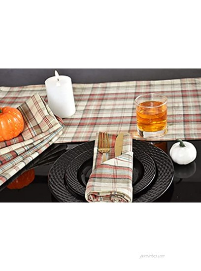 Yourtablecloth Cotton Checkered Runner Cabin Plaid 14 x 72
