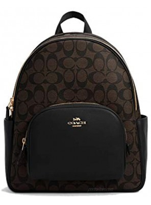 Coach Women's Court Backpack In Signature Canvas Brown Black