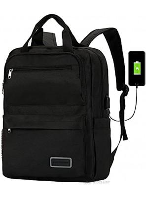School Laptop Backpack for Women Men with Usb Charger Port Teacher Students bookbags Travel Work Computer 15.6 inch Backpacks for College Teen Boys Girls-Black