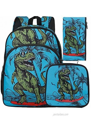"3PCS Dinosaur Backpack for Boy 16"" Kids Bookbag and Lunch Box"