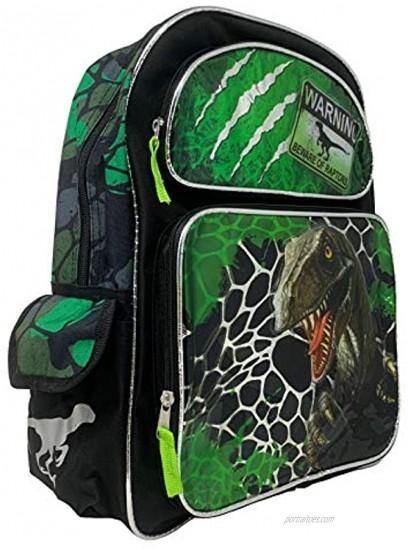 Dinosaurs 16 LargeWARNING BEWARE OF RAPTORS Backpack