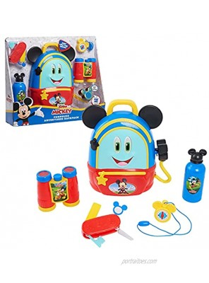 Disney Junior Mickey Mouse Funhouse Adventures Backpack 5 Piece Pretend Play Set with Lights and Sounds Accessories by Just Play