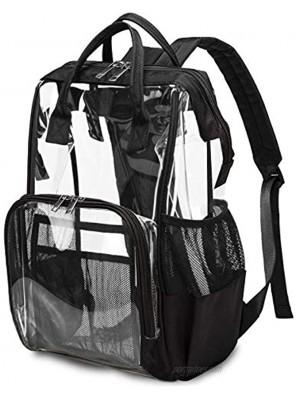 Heavy Duty Clear Backpack for Men Women School Bag Bookbag PVC Plastic Transparent Backpacks for Boys Girls Black