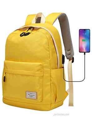 Modoker Laptop Backpack for School College Bookbag 15.6 Inch Laptop & Tablet with USB Charging Port Water Resistant Vintage Travel Backpack Yellow